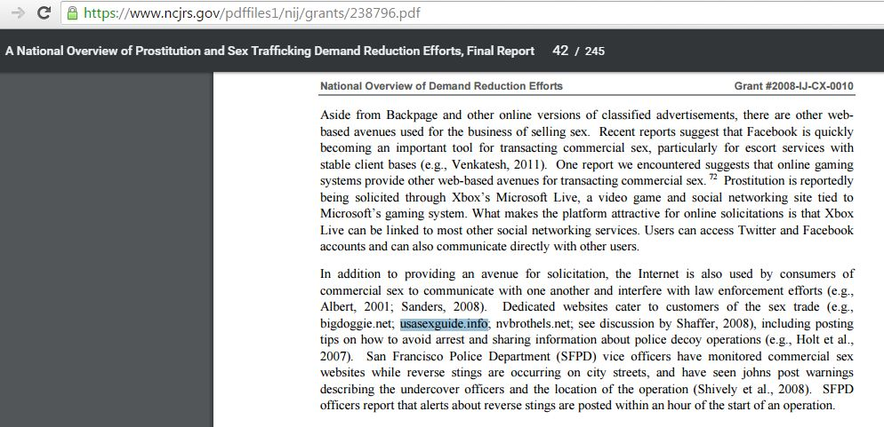 a sex trafficking report from a government source which outlines usasexguide